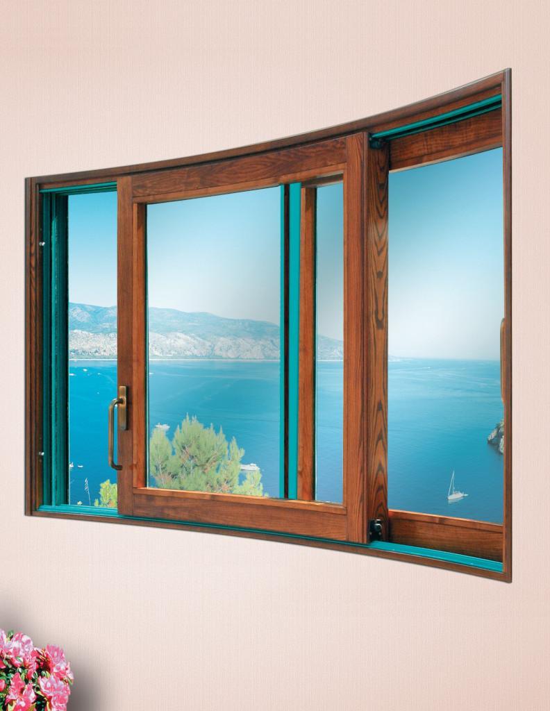 Finestra in legno e alluminio Solarium Alzasolar